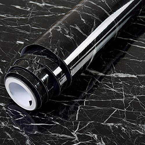 15.7 in x118 in Black Marble Wallpaper Peel and Stick Wallpaper Self Adhesive...