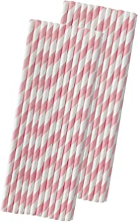 Striped Paper Straws - Light Pink White - 7.75 Inches - Pack of 50- Outside the Box Papers Brand