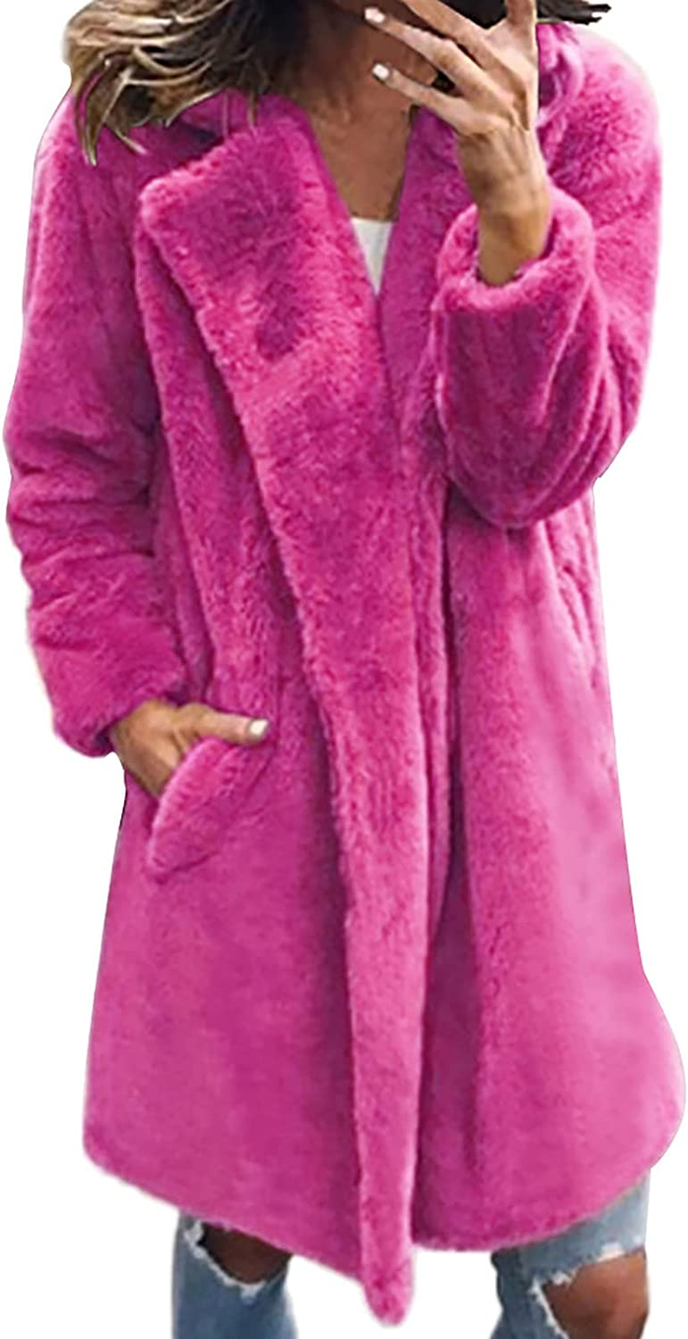 Aritone Clearance!! Coat Jacket Womens Ladies Solid Warm Faux Coat Jacket Winter Turn Down Collar Outerwear