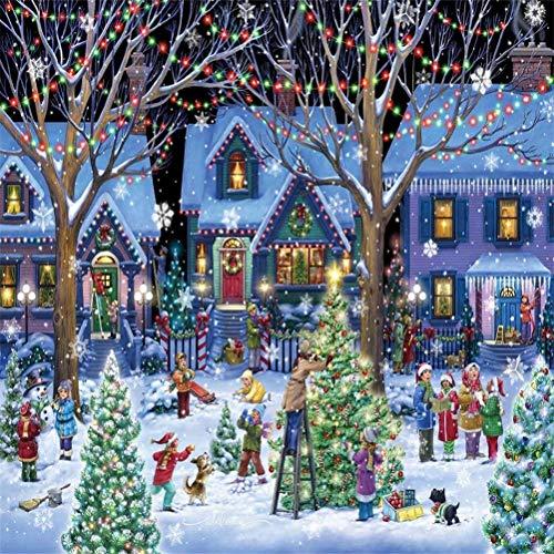 Fangteke Puzzle Natale 1000 Pezzi Puzzle Giocattolo Albero di Natale Decorazione Cortile Puzzle Gioco Educativo Regalo di Capodanno per Adulti Bambini