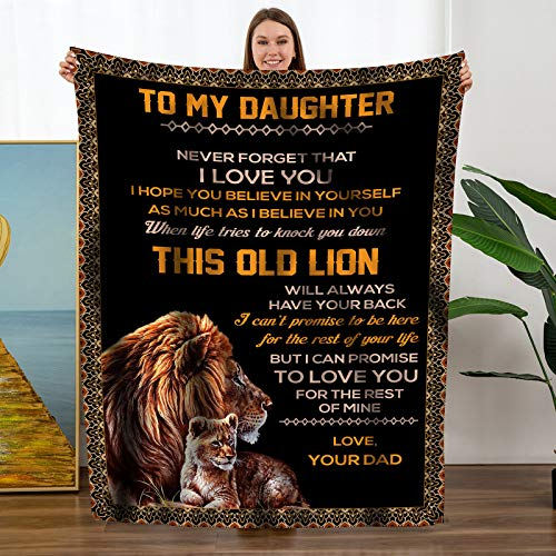 TURMTF Personalized Flannel Blanket to My Daughter Gift from Dad- Christmas Birthday Thanksgiving Flannel Plush Soft Bed Blanket Throws (Black, to My Daughter from Dad)