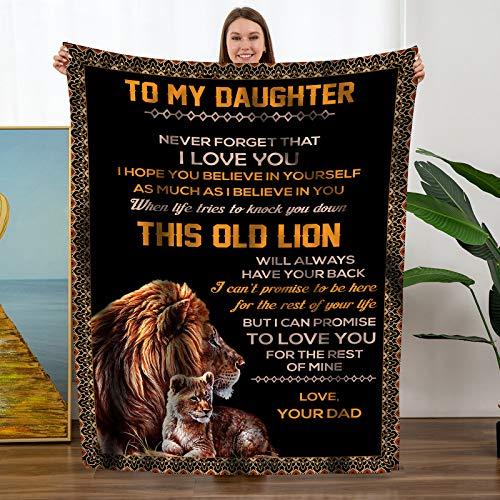 Manta de franela personalizada, personalización de cumpleaños para hijas, franela de felpa, manta de cama suave para curar pensamientos (negro, a mi hija de papá)