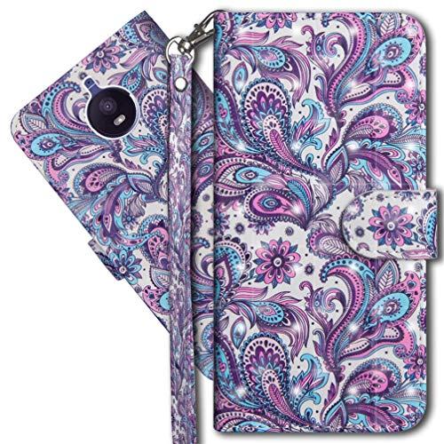 MRSTER Moto E4 Plus Handytasche, Leder Schutzhülle Brieftasche Hülle Flip Hülle 3D Muster Cover mit Kartenfach Magnet Tasche Handyhüllen für Motorola Moto E4 Plus UK. YX 3D - Peacock Flower