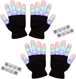 2 Pack-Amazer Light Gloves Finger Light Flashing LED Warm Gloves with Lights for Birthday Light Party Christmas Xmas Dance...
