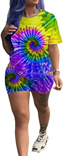 FSSE Women Sexy Tie-Dyed Tops 2 Pieces Club Shorts Sweatsuit Outfit Set