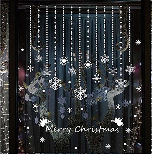 Tuopuda Copos de Nieve y Pelota Decoración Navidad Pegatina Calcomanía de Ventana Vidrio Pared Puerta Vinilos Decorativos Autoadhesivo para Escaparate Tienda Hogar Moderno (copo de nieve)