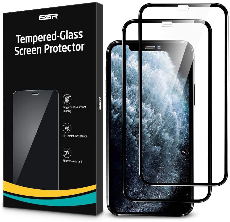 ESR Tempered-Glass Full-Coverage Screen Protector for iPhone 11 Pro/XS/X [2-Pack], Full Screen Coverage, 3D Curved Edges, Easy Installation, Case-Friendly Glass Screen Protector for iPhone 5.8-Inch