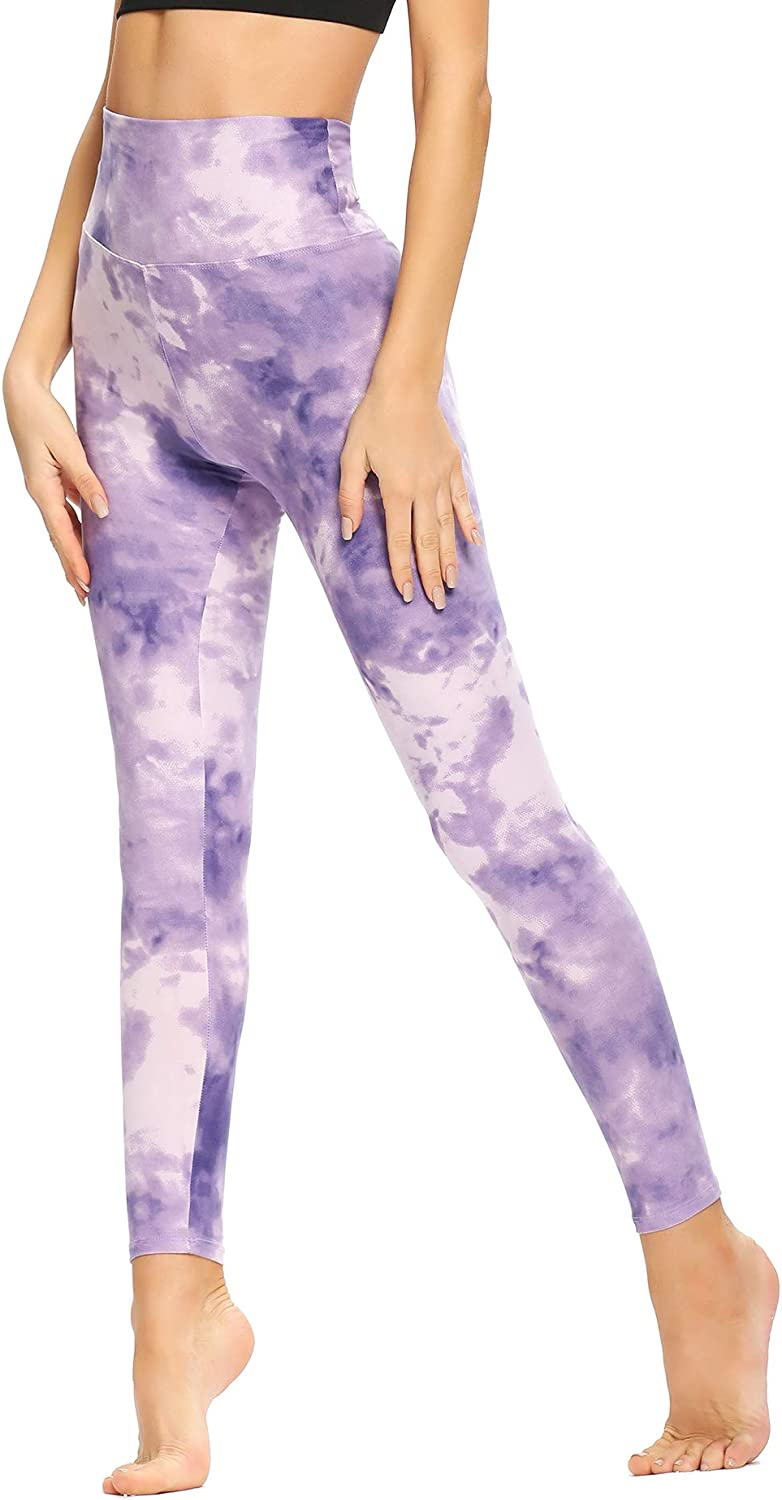 CAMPSNAIL High Waisted Pattern Leggings for Women Soft Tummy Control Printed Pants Opaque Tights for Workout Yoga Cycling