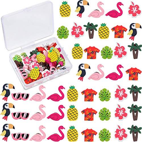 36 Pieces Hawaiian Luau Wooden Push Pins Pineapple Flamingo Coconut Tree Palm Leaf Thumb Tack Colorful Cute Decorative Pushpins Drawing Pins for Photos Wall, Maps, Bulletin Board, Cork Boards