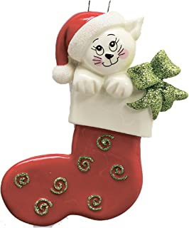Personalized Cat Stocking Christmas Tree Ornament 2019 - Cream White Kitty Red Santa Hat Breed Neutral Beige Pet Friend Furever Aww Oriental Gift Year - Free Customization