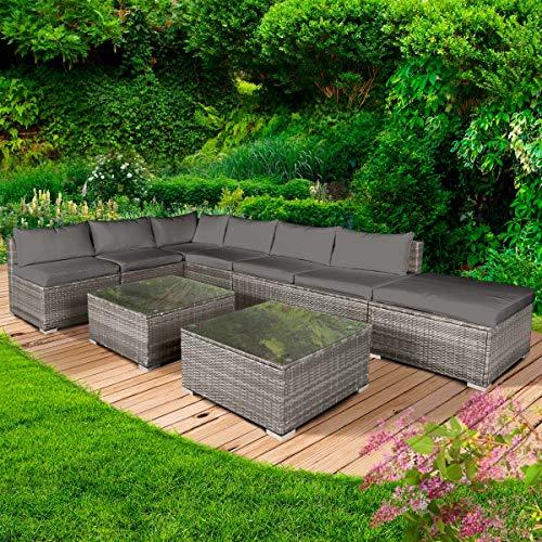 BRAST Gartenmöbel, modular, Gartensofa, beweglich, 5-teilig, Relax in Grau – aus Polyrattan, Aluminium, sehr dünn und komfortabel