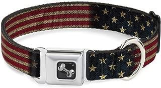 Dog Collar Seatbelt Buckle Vintage US Flag Stretch