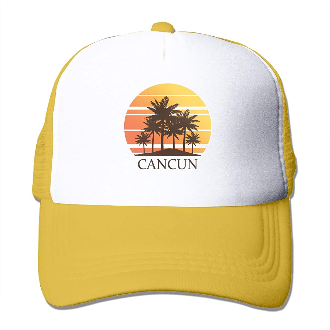 LETI LISW Cancun Mexico Sunset and Palm Trees Unisex Lovely Trucker Mesh Hats Adjustable Baseball Cap