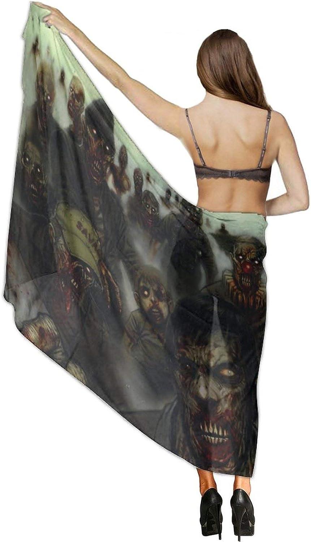 Women's Chiffon Halloween Awful Zombie Beach Scarf Smooth Sunscreen Wrap Shawl Scarves Bikini Cover-Up Wrap Scarf Swimsuit Sarongs Summer Beach Cover Ups