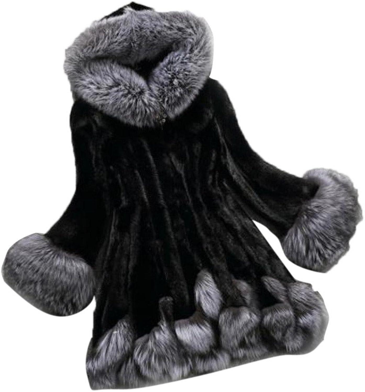 Alixyz Faux Fur Coat for Women Elegant Patchwork Long Sleeve Parka Outwear