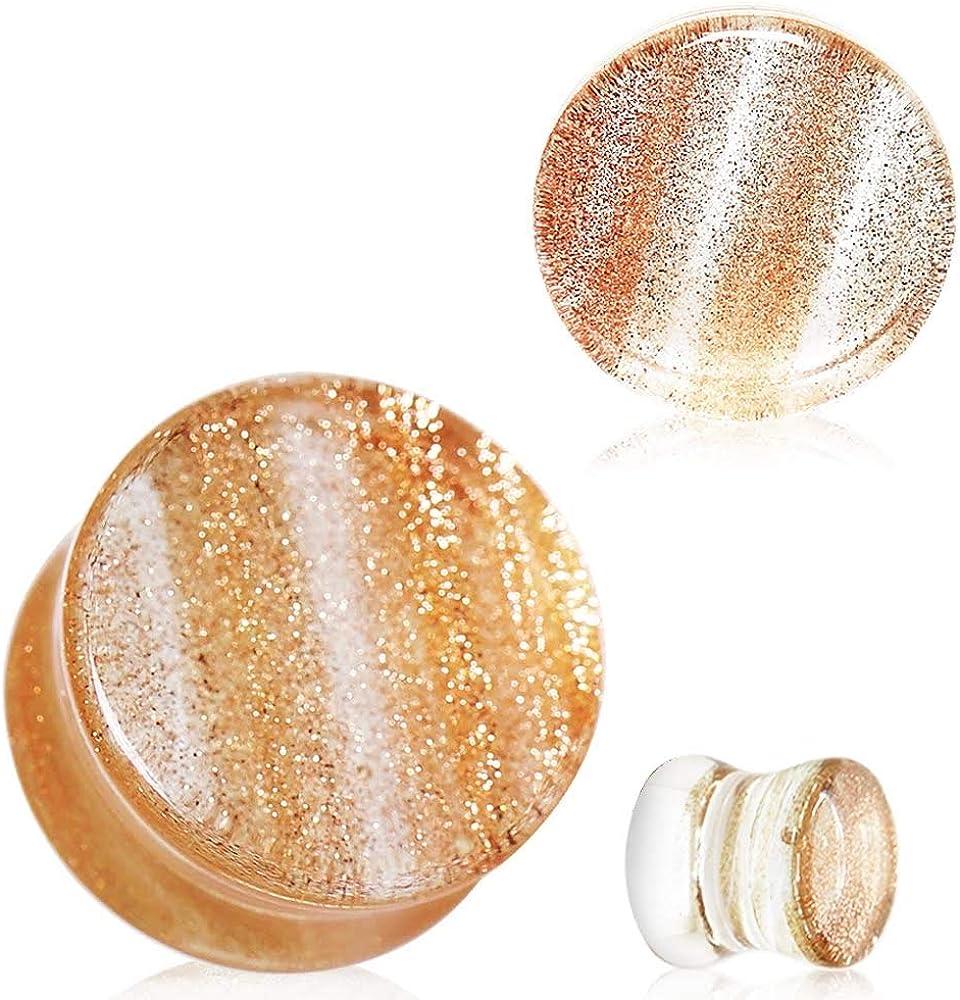 Covet Jewelry Golden Sand Glass Saddle Plug