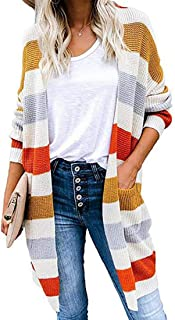 IOSHAPO Jerséis para Mujer Sudaderas A Rayas Suéter con Costuras En Contraste Cardigans Otoño Invierno Prendas De Punto Co...