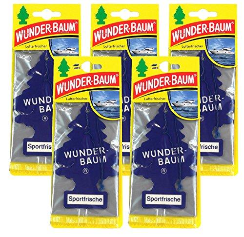 Wunderbaum 5X Sportfrische Orginal Lufterfrischer Duftbaum Fahrzeugduft 1 STK