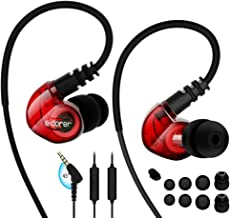 Adorer Sports Headphones RX6 Wired Earphones with Microphone and Memory Earhook, Running Earbuds for iPhone, iPad, Samsung, Smartphone, MP3 Player and more - Red