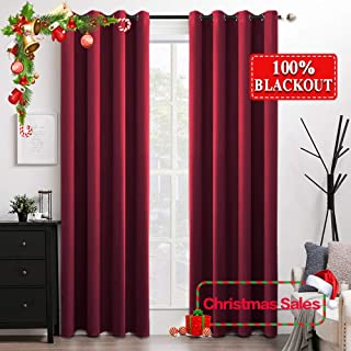 MIULEE 100% Blackout Curtains for Christmas Thermal Insulated Solid Grommet Curtains/Drapes/Shades for Bedroom Living Room 2 Panels, 52