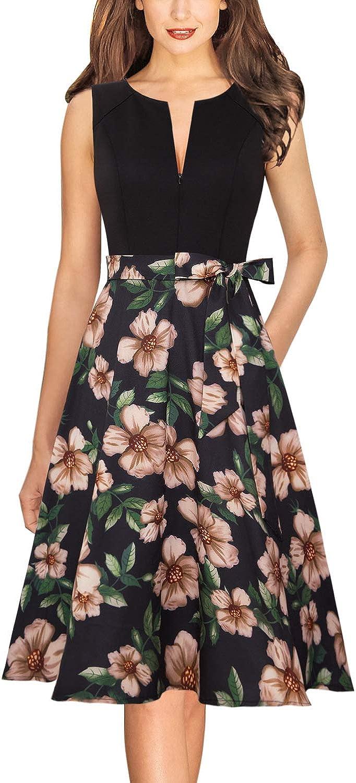 Vfshow Womens Elegant Front Zipper Slim Work Business Office Party A-Line Dress