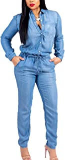 Fanvans Womens Casual Jumpsuit Long Sleeve Button Down Denim Rompers