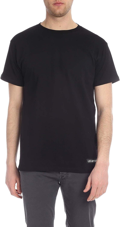 LES (ART)ISTS Men's LA08TEE146BK Black Cotton TShirt