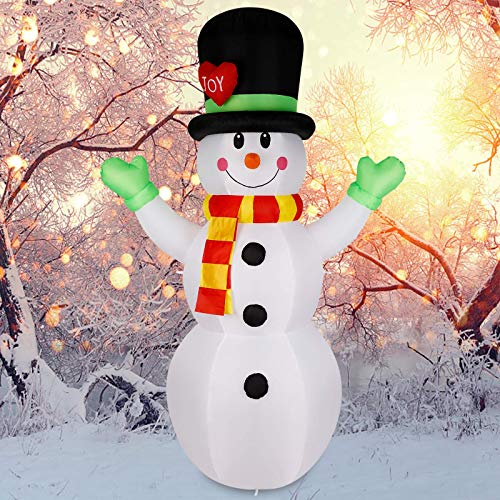 Albrillo Christmas Decorations Outdoor Inflatable Snowman 7FT with LED Lights Hat Colorful Scarf Christmas Blow up Yard Decorations for Themed Party Indoor and Outdoor Decors