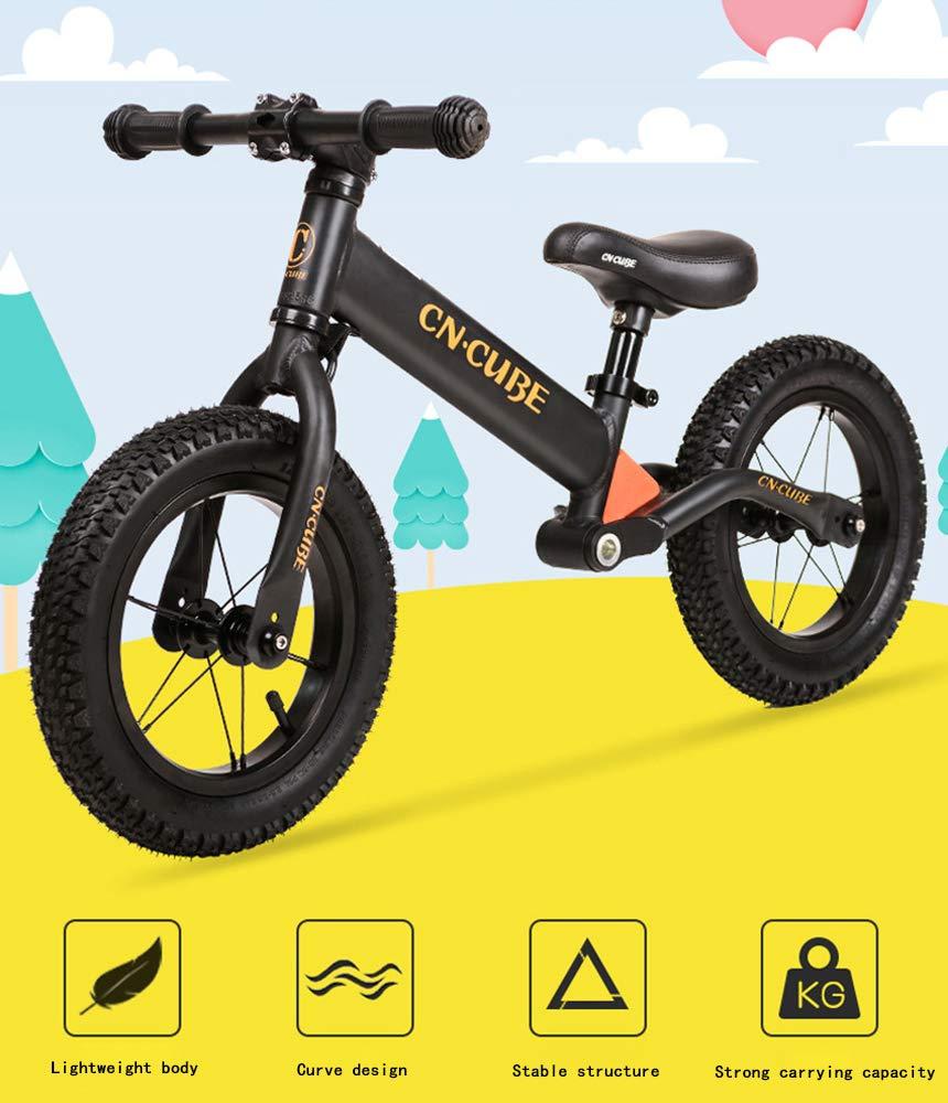 WANGYA Bicicleta De Equilibrio Infantil,AleacióN De Aluminio 2-6 AñOs Asiento Y Manillares Ajustables LíMite De DireccióN Desmontable NeumáTico Neumatico, Black: Amazon.es: Deportes y aire libre
