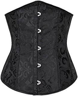 Jacquard Underbust Corset Floral Push Up Boned Bustier for Women Front Busk Push Up Gorset Plus Size