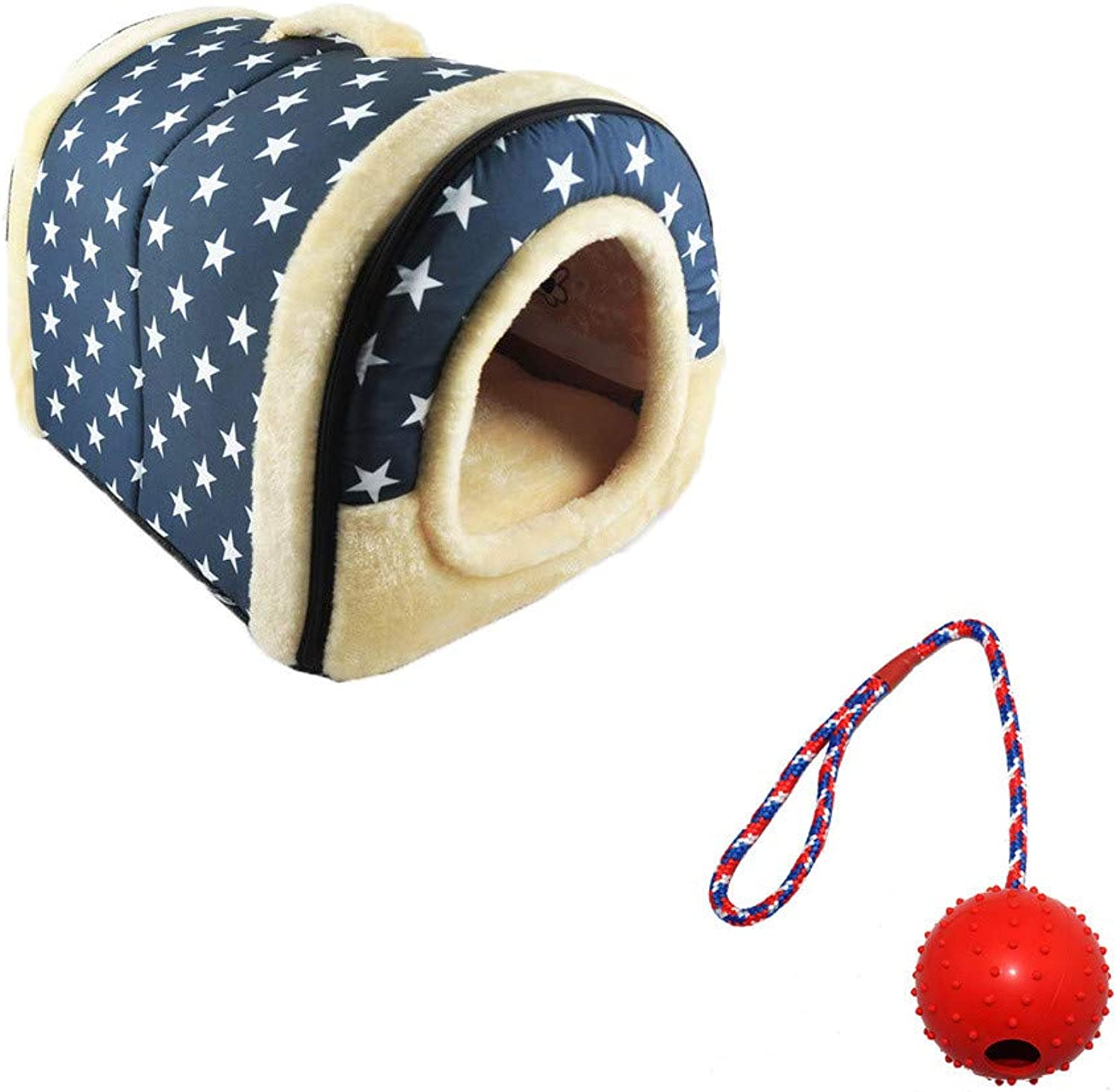 Best Gift for Pet    Pondkoo Cozy Dog Cat Houses with a Pet Ball, Winter Warmer Washable Pet House Cave Nest Bed Kennel Mat