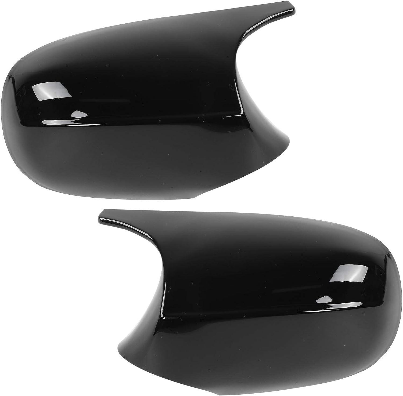 Pair Side Mirror Cap Cover Left Mirr half Glossy Black Door and Right Dedication
