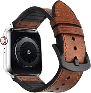 Goton Leather Watch Band Apple Watch Series 4 3 2 1, Genuine Leather Watch Straps Compatible Apple Watch Leather Bands Men Women Stainless Steel Buckles 44mm/42mm Brown 5962871434