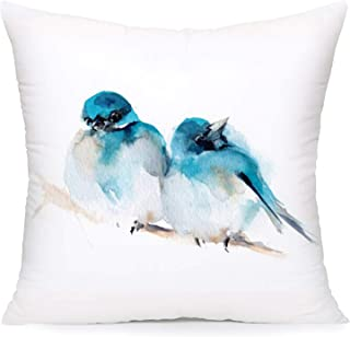 Royalours Pillow Covers Super Soft Christmas Blue Couple Birds Resting on a Tree Branch Throw Pillow Covers Winter Snow Decor Pillowcase Cushion Cover 18 x 18 Inches (Bird-3)