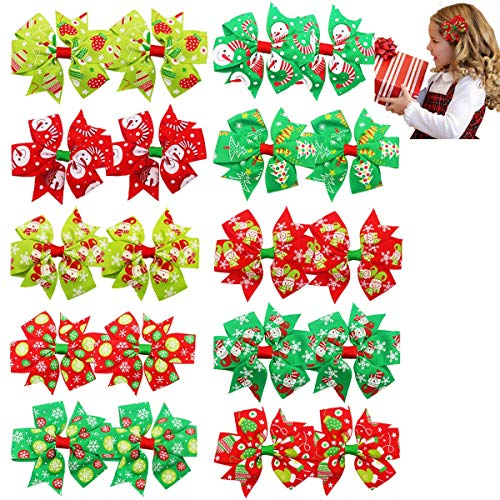 20PCS Christmas Hair Bows 3Inch Grosgrain Ribbon Bows Alligator Hair Clips Hair Accessories Christmas Gifts for Baby Girls Toddlers Children Kids(Multi-Colore-10pairs)