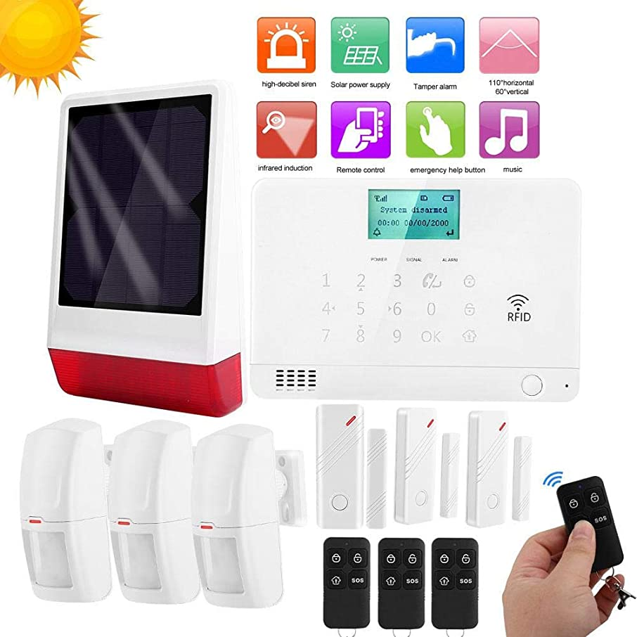 Wireless Alarm, Home Solar Security Alarm and Sound Alarm Remote Control Security Alarm System with On-Site Monitoring (US)