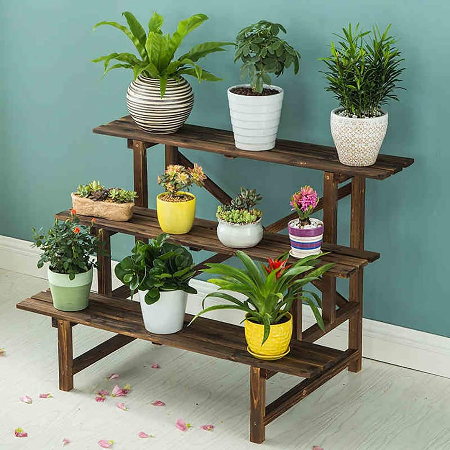 Standing Flower Stand Wooden Flower Rack Indoor Plant Stand Wooden Plant Flower Display Stand Wood Pot Shelf Storage Rack Outdoor Decorative Frame (Size   B)