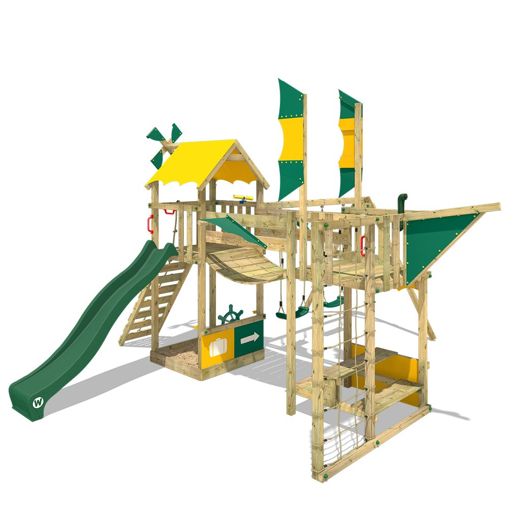 WICKEY Parque infantil de madera Smart Wing con columpio y tobogán verde, Casa de juegos de jardín con arenero y escalera para niños: Amazon.es: Bricolaje y herramientas