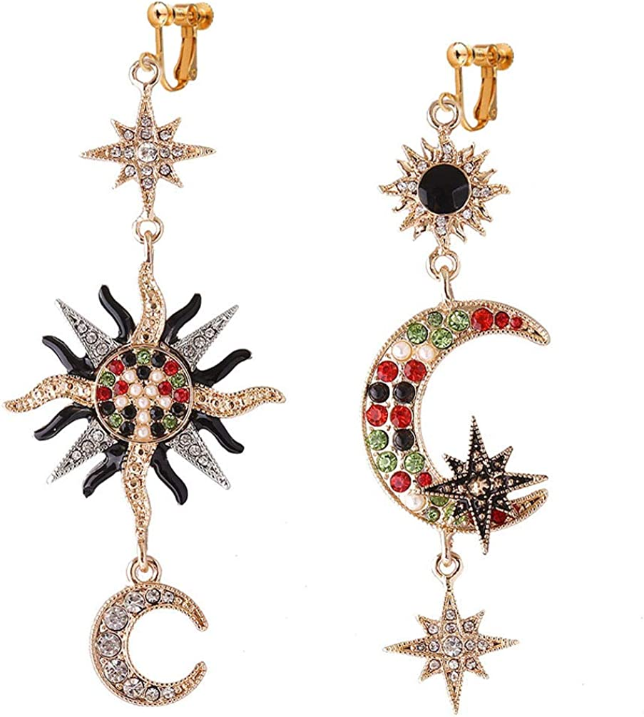 Sun Moon and Star Clip on Earrings for Women Girls Crescent Star