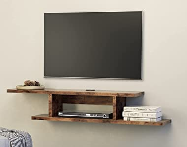 FITUEYES Walnut Floating TV Stand Wall Mounted Component Electronics Shelf Entertainment Center Wood Media Console Wall Cabin
