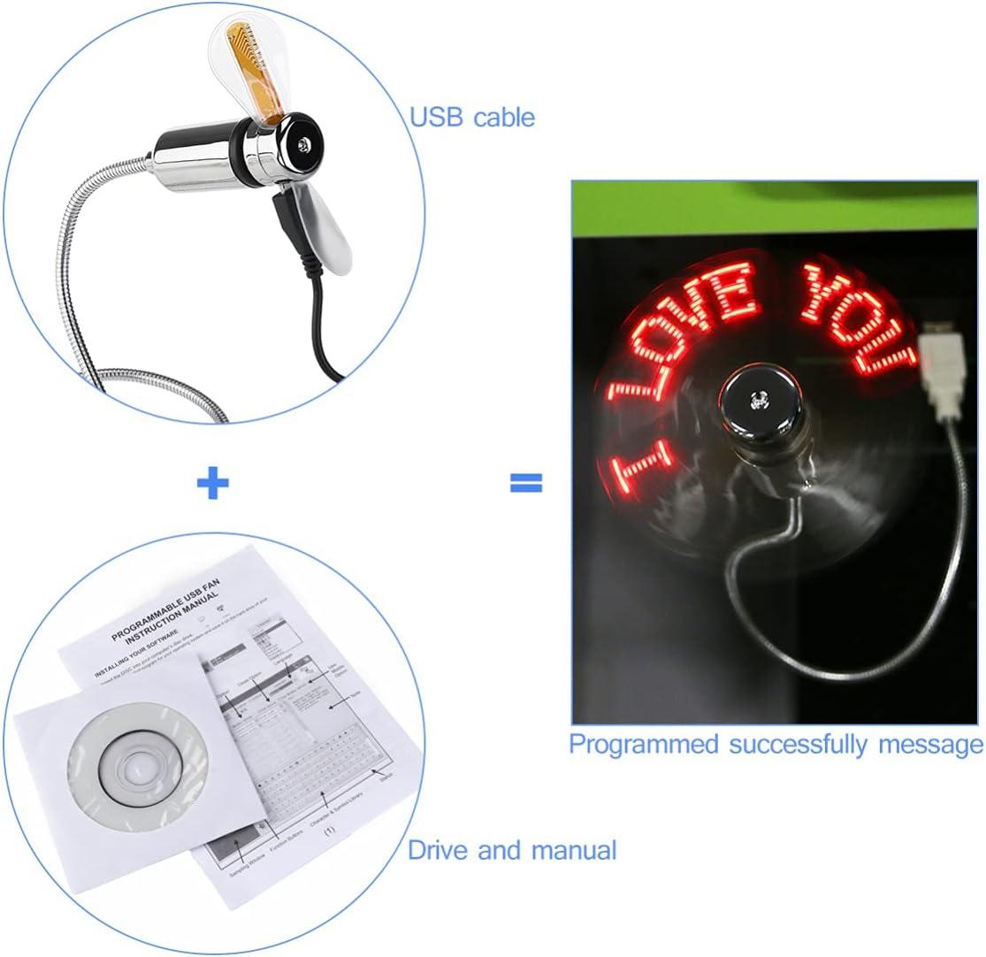 POPETPOP USB LED Clock Fan- Programmable Edit LED Fan Small Personal Portable Funny USB Man Gadgets Gifts for Man Woman