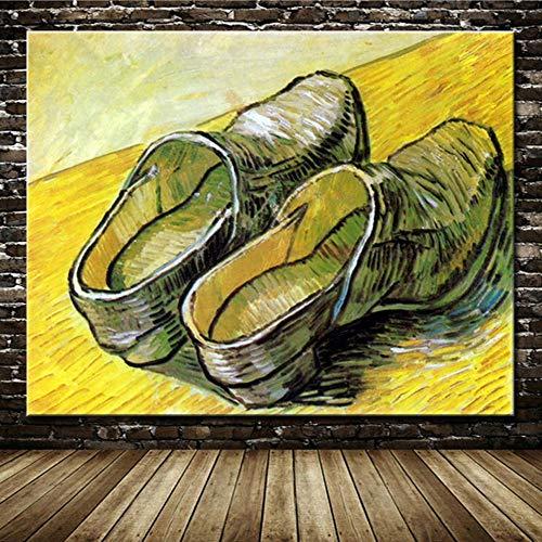 ZHUAIBA Un par de Zuecos de Madera de Vincent Van Gogh Pinturas al óleo Famosas pintadas a Mano sobre Lienzo Arte de la Pared Imágenes para la decoración del hogar de la habitación 70x90cm Sin Marco