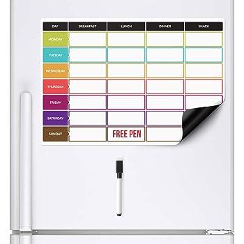 Pizarra Planificadora de Comidas y de Planes por SmartPanda - Calendario Magnético Grande Ideal para Planificar Estudios, Tareas o Dietas - Pizarra Blanca para la Nevera – Semanal, En Ingles: Amazon.es: Hogar