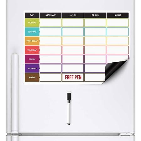 CKB LTD planificador de dietas | Pizarra blanca magnética para el frigorífico con rotulador A3, Ideal para la planificación de las comidas familiares, musculación