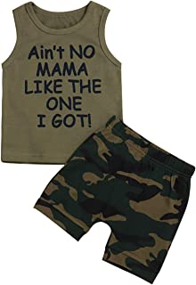 Toddler Baby Boy Clothes Funny Letter Printed Top and Camouflage Pant Outfit Set