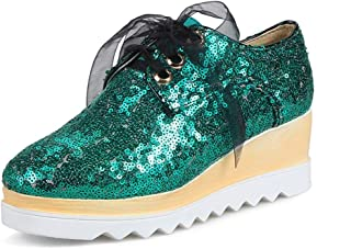 GIY Women's Lace up Glitter Shiny Wedge Platform Sneaker Fashion Walking Shoe Slip on Casual Shoes
