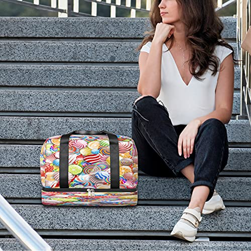 Bolsa de deporte para gimnasio colorida Lollipop bolsa de viaje ligera durante la noche con bolsillo húmedo y compartimento para zapatos bolsa impermeable para hombres y mujeres