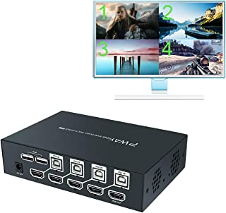 AAO HDMI KVM Switch Quad Multi-Viewer 4 Port, Support 1080P@60Hz, 4 in 1 Out (HDMI or VGA Out), with Seamless Switch and Hotkey Switch