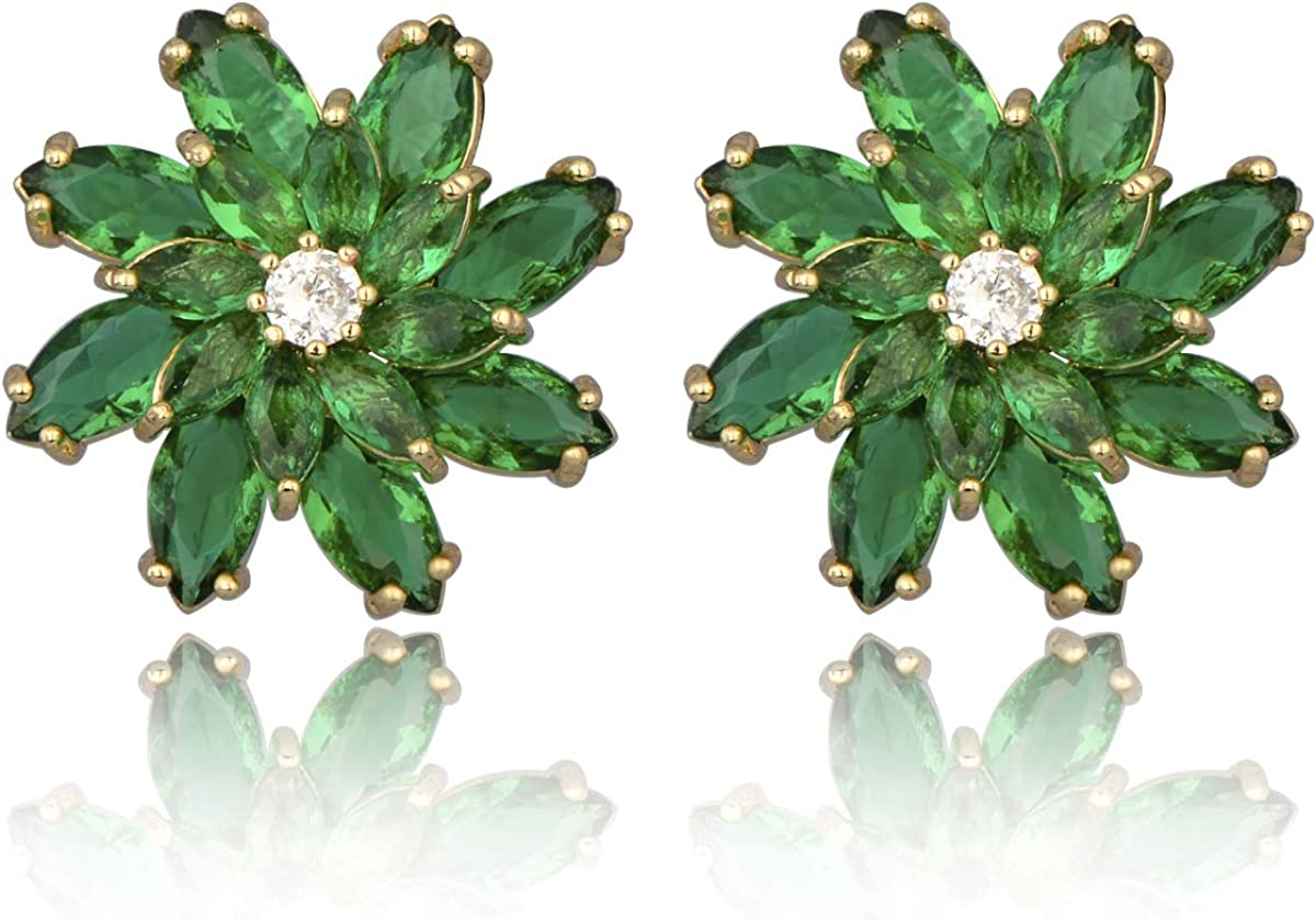 Cubic Zirconia Flower Stud Earrings Finally popular OFFer brand - R Sparkly Crystal Large CZ