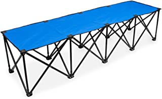 Crown Sporting Goods 6-Foot Portable Folding 4 Seat Bench with Carry Bag – Great Team Bench for Soccer & Football Sidelines, Tailgating, Camping & Events